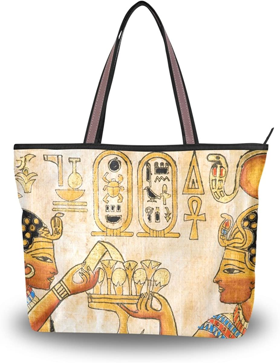 JSTEL Women Large Tote New Shipping Free Top Handle Shoulder Egyptian Art Flo low-pricing Bags