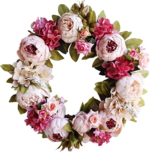 new arrival Artificial online Peony Rose Flower Wreath for Front Door Pink/White/Blue Flower Door Wreath with Leaves Spring Wreath Valentine's Day, Wedding, wholesale Wall, Home Decor, 17IN online