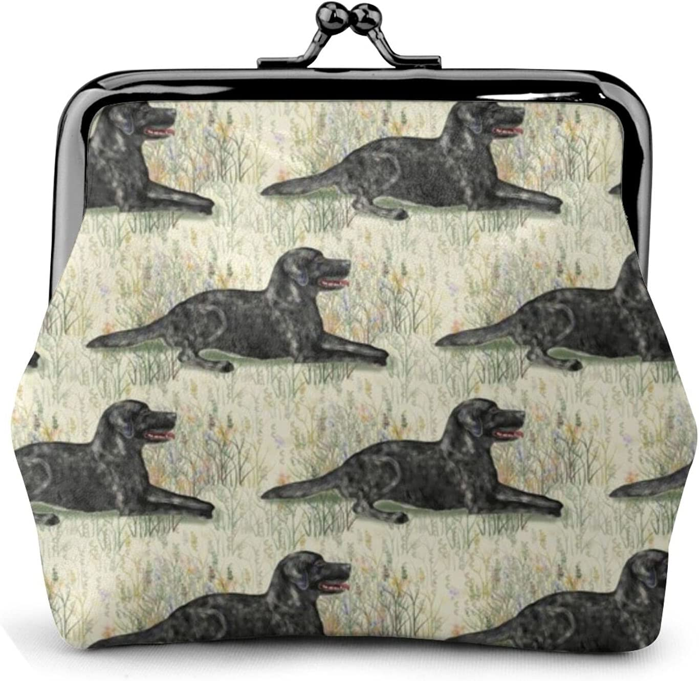 Black Lab Lying 593 Coin Purse Retro Money Pouch with Kiss-lock Buckle Small Wallet for Women and Girls
