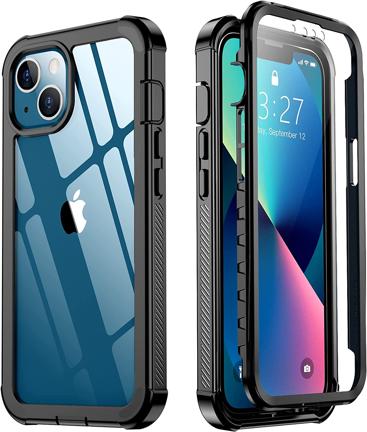 Red2Fire Designed for iPhone 13 Case, with Built-in Screen Protector 360° Full Body Protective Cover Heavy Duty Lightweight Slim Shockproof Clear Phone Case for iPhone 13 6.1 inch