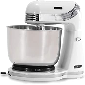 Dash Stand Mixer (Electric Mixer for Everyday Use): 6 Speed Stand Mixer with 3 qt Stainless Steel Mixing Bowl, Dough Hooks & Mixer Beaters for Dressings, Frosting, Meringues & More - White