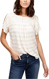 Lucky Brand Womens Crocheted Basic T-Shirt