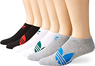 adidas Originals Men's Trefoil Superlite No Show Socks (6-Pair), White/Noble Green/Light Heather Grey/Bluebird//Bla, Large, (Shoe Size 6-12)