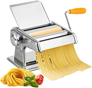 Pasta Maker, Stainless Steel Manual Pasta Machine Pasta Maker Pasta Roller Pasta Cutter Noodle Making Machine, with Hand C...