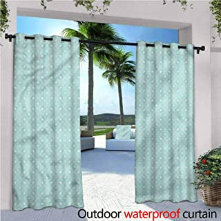 Jktown Modern Outdoor Grommet Top Curtain Panel Circular Minimalist Design for Patio/Front Porch 120x96 INCH,