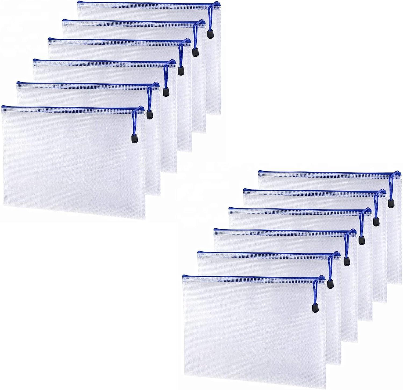 Dulousia 12PCS Mesh Zipper 70% OFF Outlet Pouch Document Folde A4 PVC Regular discount File Bag