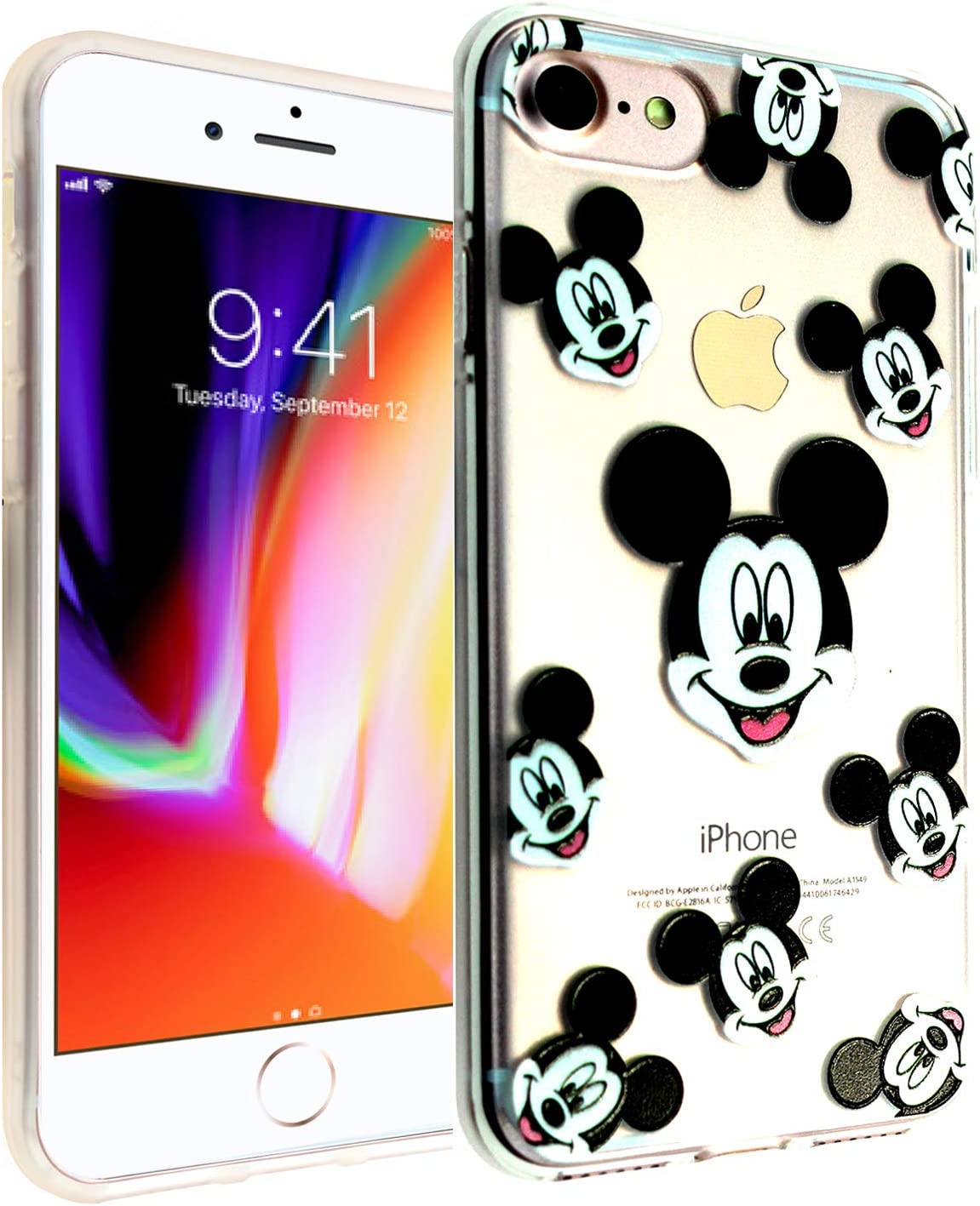 iPhone SE 2020 TPU Case CASEVEREST 3D Print Design Slim Fit Cover Mickey Mouse Faces iPhone 6S 7 8