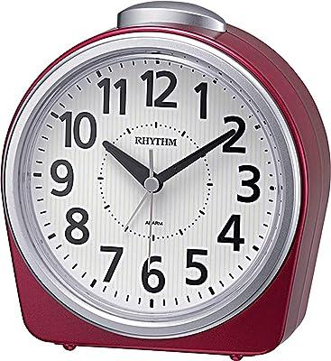 リズム時計工業(Rhythm) 置き時計 赤 14x12.7x6.2cm 目覚まし時計 アナログ 連続秒針 ベル音 蓄光 8RA645SR01