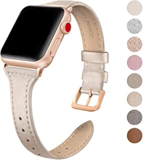 SWEES Leather Band Compatible Apple Watch iWatch 42mm 44mm, Slim Thin Dressy Elegant Genuine Leather Strap Compatible iWatch Series 5 Series 4 Series 3 Series 2 Series 1 Sport Edition Women, Champagne