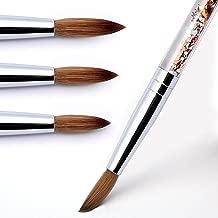 Modelones AcrylicNailBrush for Acrylic Powder Manicure Pedicure 1pcs 100% Kolinsky Sable Acrylic Nails Round Nail Art Brush With Liquid Glitter Handle #Size 8