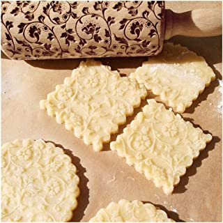 Midress Christmas Wooden Rolling Pins,Engraved Embossing Rolling Pin with Christmas Deer Pattern for Baking Embossed Cookies,Rolling Pin Kitchen Tool (Yellow)