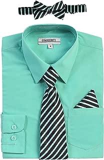 Boy's Long Sleeve Dress Shirt + Stripe Tie, Bow Tie and Hanky