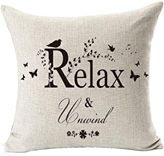 Warm Inspirational Words Love Family Home Be Relax Cotton Linen Throw Pillow Case Cushion Cover Home Sofa balcony Decorative 18 X 18 Inch (1)