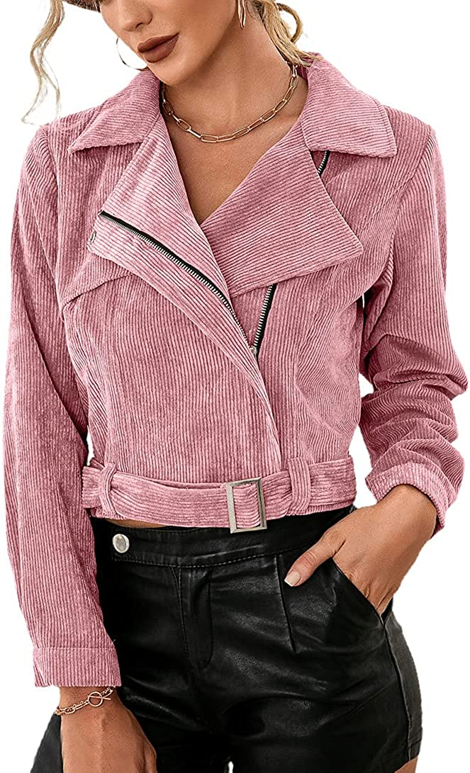 chouyatou Women's Casual Asymmetrical Zip Up Belted Moto Cropped Corduroy Jacket