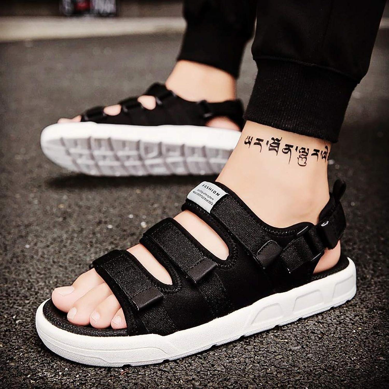 LQ Men's sandals Wear-resistant breathable PU soft sole sole beach shoes, multi-color optional woven lace outdoor shoes (color   A, Size   41)