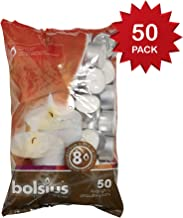 BOLSIUS 103630519700 Tealight, Paraffin Wax, White, Pack of 50 8 Hour Tealights