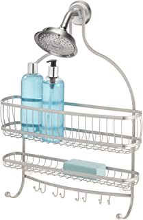iDesign York Metal Wire Hanging Shower Caddy, Extra Wide Space for Shampoo, Conditioner, and Soap with Hooks for Razors, Towels, and More, 16