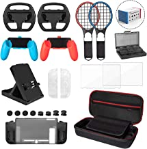 22 in 1 Accessories Kit for Nintendo Switch -Younik Carrying Case/Wheel/Racket/Gel Guards/Screen Protector/Stand/Game Card Case/Cover Case/Grip/Caps for Nintendo Switch Console