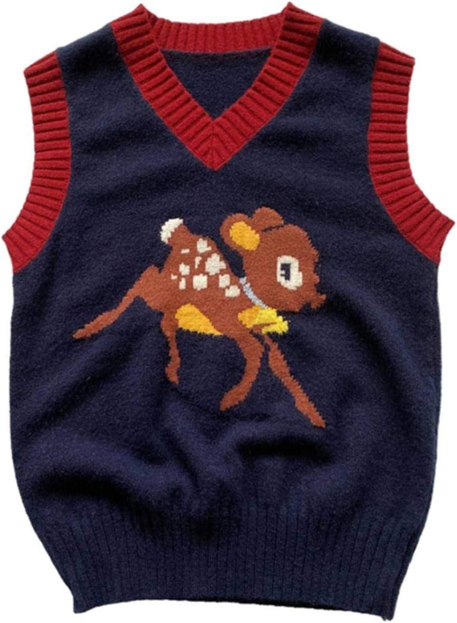 N-brand Girls V Neck Knitted Vest Sweater Vintage Multicolor Jacquard Cartoon Deer Design Sleeveless Pullover Tank Top