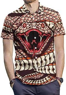 YYG Men 3D Print Vogue Plus Size Short Sleeve Cobra Slim Button Down Dress Work Shirt