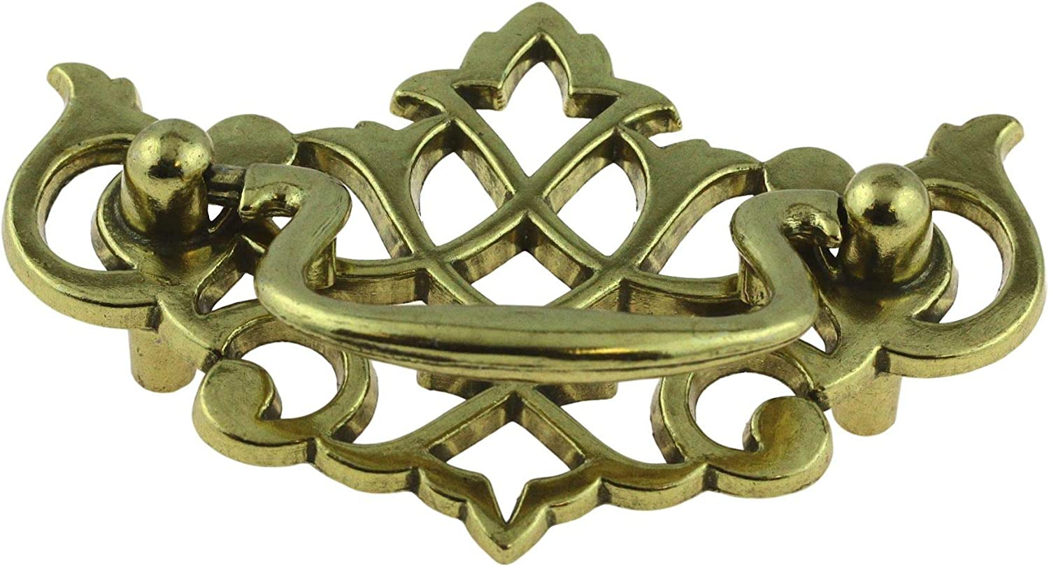 """Door Handle Pull Drawer 2 Pack Antique Brass Finish Cast Iron 6/"""" Large Tray"""