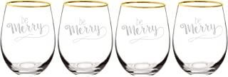 Cathy's Concepts Be Merry Gold Rim Stemless Wine Glasses (Set of 4), 19.25 oz, Clear