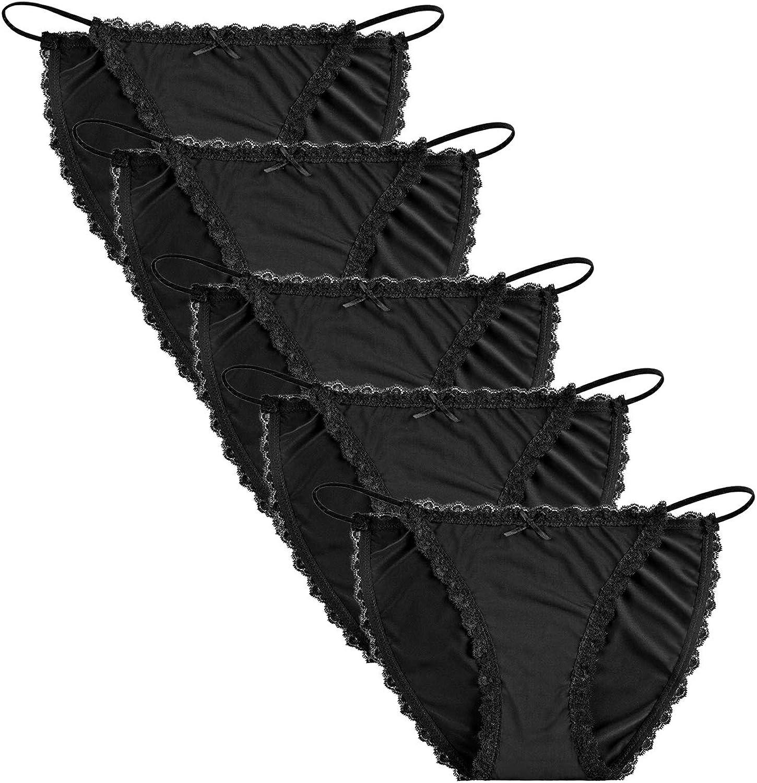 Seasment Underwear Women String Bikini Panties Lace Briefs Lingerie Pack of 5