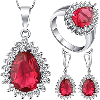 VPbao Plated 925 Sterling Silver CZ Drop Necklace Earrings Ring Jewellery Sets Red