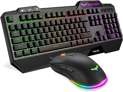 Havit Keyboard Rainbow Backlit Wired Gaming Keyboard Mouse Combo, LED 104 Keys USB Ergonomic Wrist Rest Keyboard, 480...