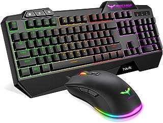 صفحه کلید HAVIT Rainbow Backlit Cord Gaming و ماوس (سیاه)
