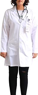 JONATHAN UNIFORM White Work Coats Workwear with 3 Pockets, Working Uniform Students Coat Food Coat