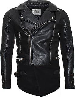 Redbridge Men's Faux Leather Biker Jacket in Long Style Design