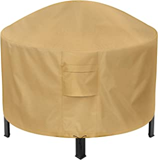 Sunkorto Round Fire Pit Cover, 44 Inch Patio Outdoor Firepit Table Cover Waterproof 600D Heavy Duty Wear-Resistant, Light Brown