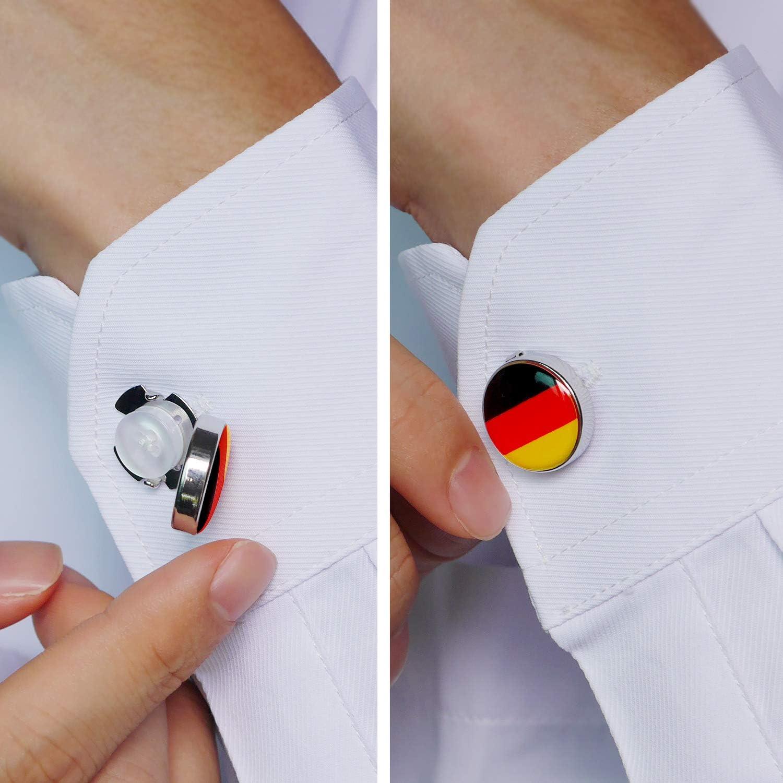 HONEY BEAR Cubre Botones Bandera Gemelos para la Camisa ordinaria de los Hombres de Negocios de Acero Inoxidable