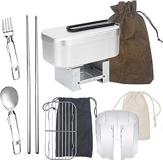 メスティン 9セット 飯盒 アルミニウム製 バッドアミ ウインドスクリーン 折りたたみ式ストーブ付き 目盛り付き 折り畳み式食器3セット付き アウトドア専用メスティンセット バリがない 取り済み キャンプ用品