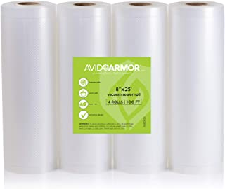 "8"" x 25' Vacuum Sealer Bags Rolls 4 Roll Pack for Food Saver, Seal a Meal Vac Sealers, Heavy Duty Commercial, Sous Vide, B..."