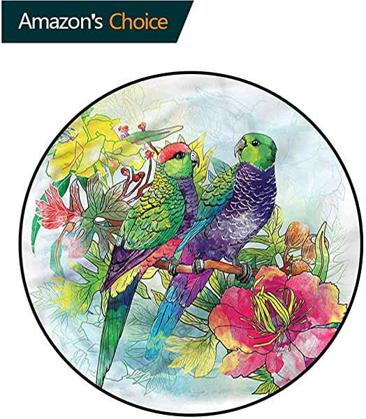 Parrot Round Area Rugs Super Soft Living Room Flowers Parrots Love Oriental Floor And Carpets Diameter 71