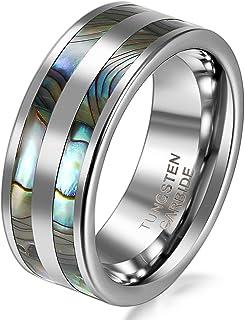 JewelryWe Anello Rotondo da Uomo Donna; Anello in Carburo di Tungsteno da 6/8 mm; con Doppio Abalone Conchiglia Intarsio, ...