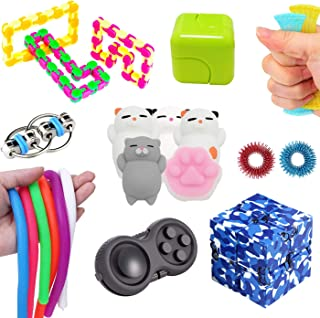Leeche The Ultimate Sensory Toys Bundle 18 Pack Fidget Toys Stress Relief Slime/Infinity Cube/Squishies Toys/Fidget Ring for Kids&Adult Add ADHD