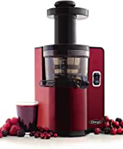 Omega VSJ843QR Vertical Slow Masticating Juicer Makes Continuous Fresh Fruit and Vegetable Juice at 43 Revolutions per Minute Features Compact Design Automatic Pulp Ejection, 150-Watt, Red