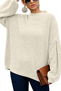 QINSEN Women's Oversized Drop Shouler Round Neck Long Sleeve Pullover Sweater Knit Tops