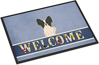 Caroline's Treasures BB5657MAT Papillon Black White Welcome Indoor or Outdoor Mat 18x27, 18H X 27W, Multicolor