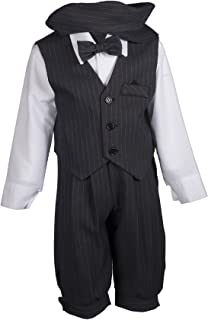 Boys Grey Pinstripe Knicker Set with Vest and Page Boy Hat