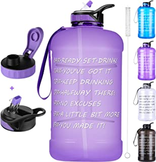 Large 1 Gallon Water Bottle,128oz Big Sports Water Bottle with 2 Replacement Lid, Straw/Motivational Time Marker/Hand Strap,Leakproof BPA Free Water Jug for Gym Fitness Workouts Camping Outdoor