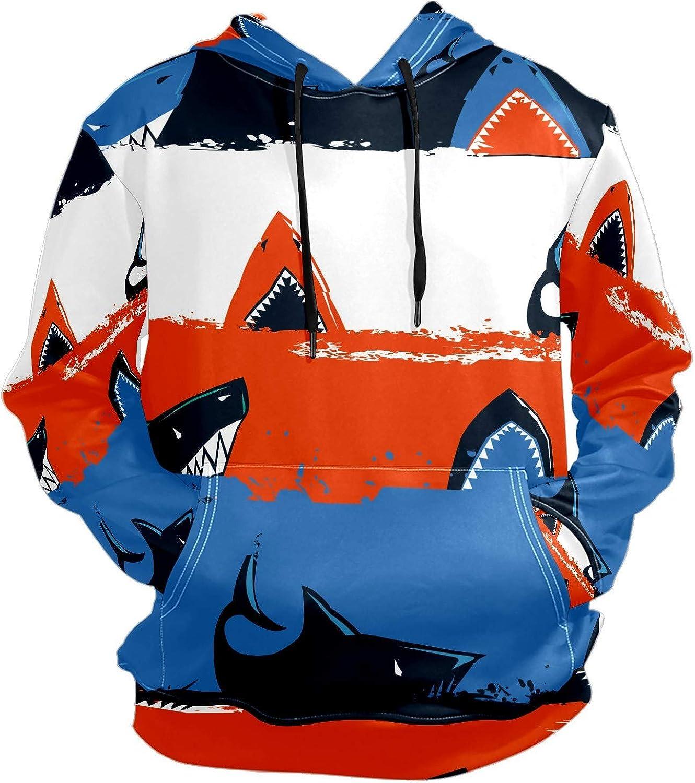 Men's Sport Hoodie Ocean Shark Red White Blue Art Big and Tall Hoodies for Men Women Oversized Hooded Sweatshirt Hip Hop Pullover Hoodie Midweight Hood for Boys Girls