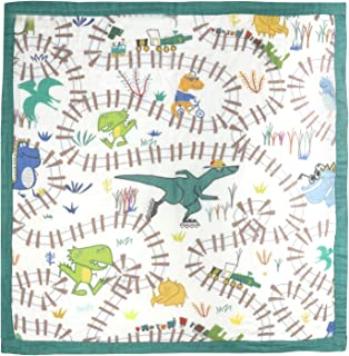 """Dinosaur Muslin Stroller Blanket - Bamboo Crib Blankets for Toddler - Oversized 47"""" x 47"""" - 2 Layers Soft Lightweight Quilt for Nursing Cover, Infant Wrap, Burp Cloth 