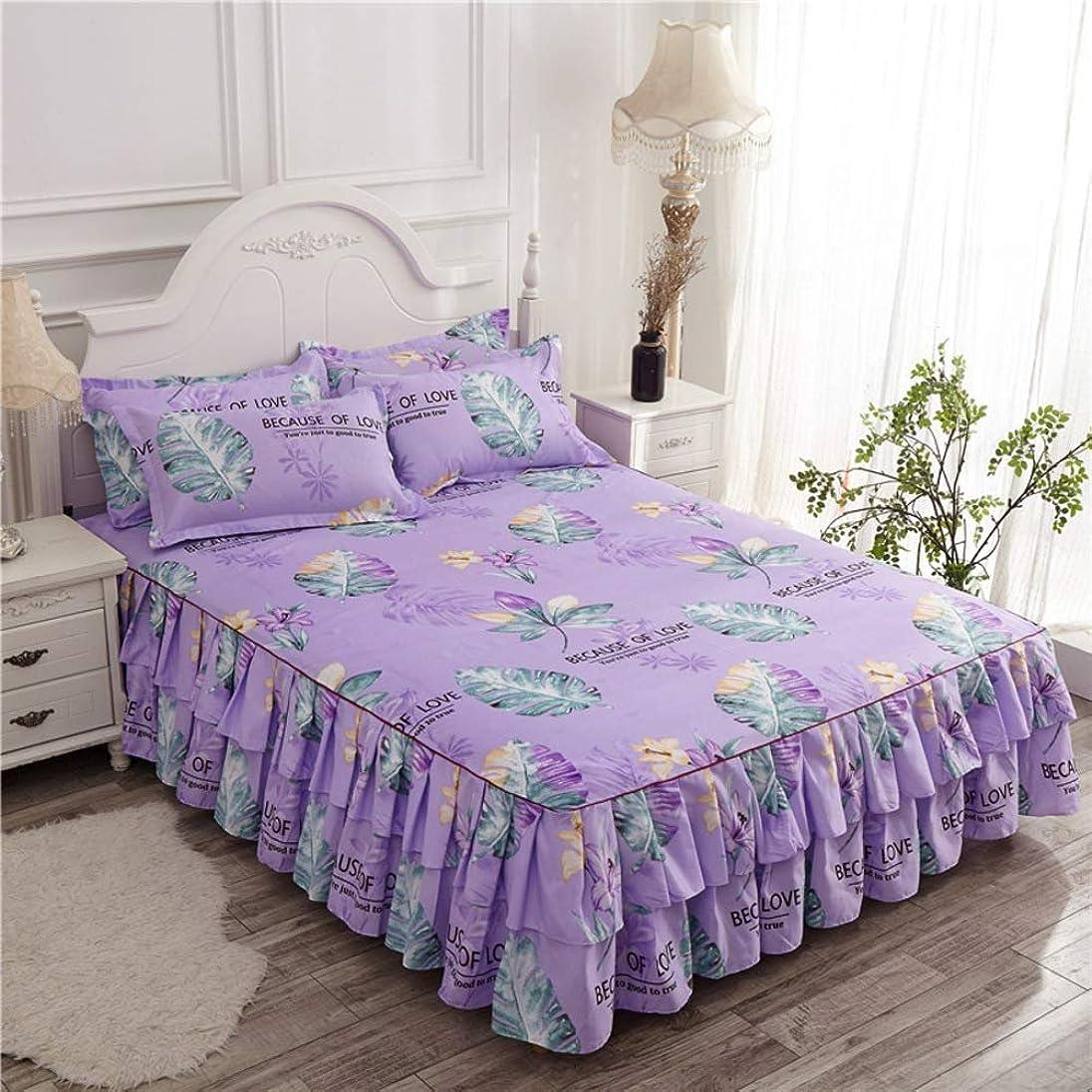絶妙アーティスト無駄なレース 印刷 ベッドスカート,超-ソフト ベッド プリンセス ベッド伸ばせ プリーツ ほこり ラッフルドロップ ベッド シート ベッドカバー-w