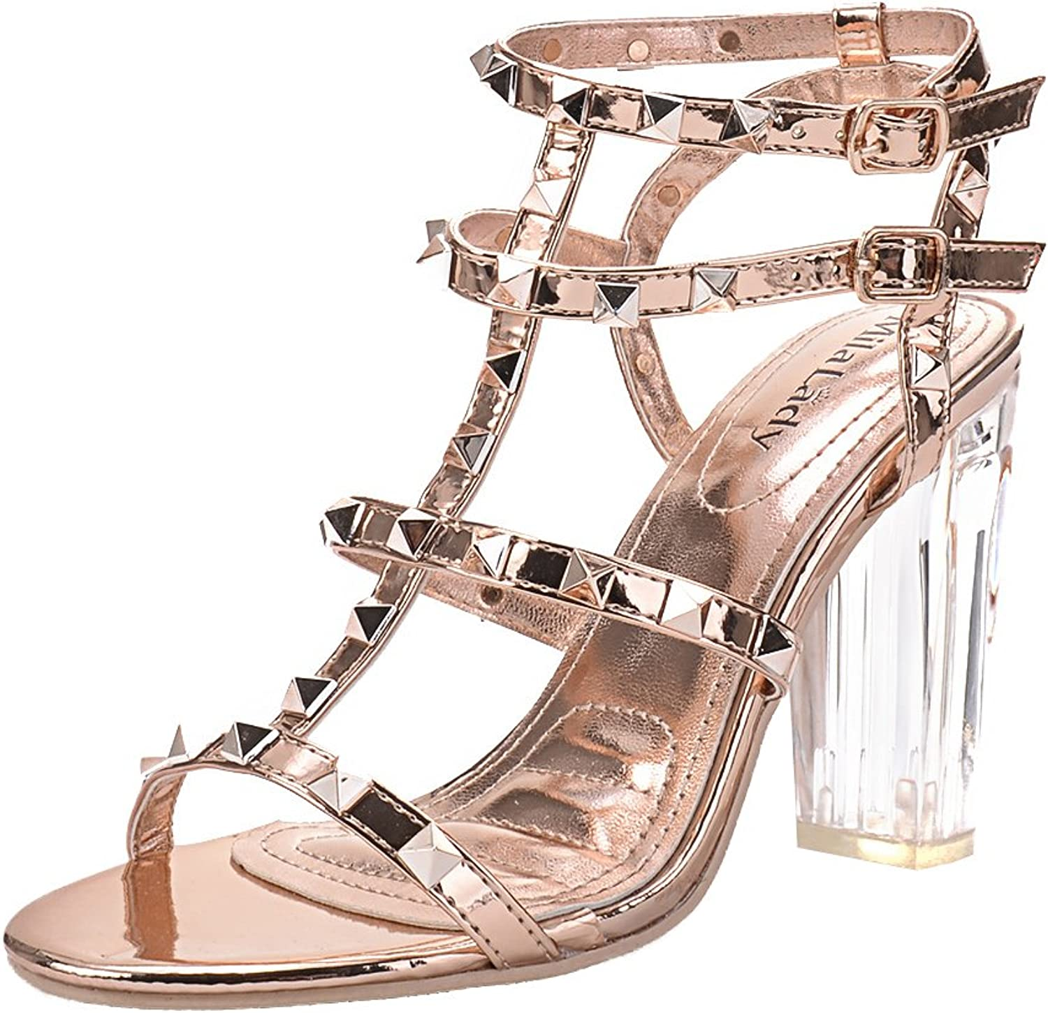 Mila Lady  Erin 08  Women's Studded with Lucite Clear Block Chunky Heel Sandals, Champ 10