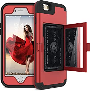 WeLoveCase iPhone 6 Plus / 6s Plus Wallet Case Defender Wallet Case with Hidden Back Mirror and Card Holder Heavy Duty Protection Shockproof Armor Protective Case for iPhone 6S Plus - Red