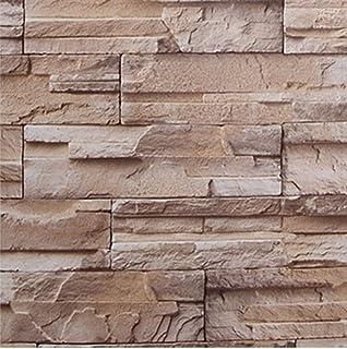 Yullymerry 壁紙シール レンガ ブロック 模様 61cm × 10m ブリックパターン ストーン DIY 模様替え (浅黄)